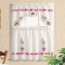 ON SALE ! PANSY STRIPE.Embroidery 3pcs kitchen curtain/ cafe curtain set. Pink