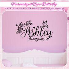 Personalized Custom Name Butterfly Flower Wall Art Decor Heart Sticker Decal 154