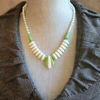Vintage Retro Lime Green and White Plastic Beaded Necklace