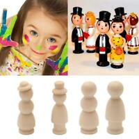 3X Unfinished Wood Peg Doll Natural Wooden People DIY Craft Dolls Decor 2020