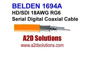 Belden 1694A  003-1000 HD/SDI 18AWG RG6  Digital Coaxial Cable ORANGE 1,000 feet