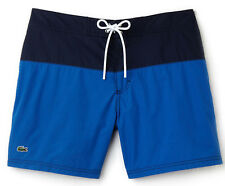 NWT Lacoste Mens Colorblock Taffeta Board Shorts MH7093, Delta Blue/Navy, Size S