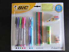 Brand New Sealed BIC 15 Piece Stationery Set Pens Pencils Tipp-Ex Glue Eraser