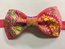 Custom Mens Pink/Yellow Floral Bow Tie Pre-tied Adjustable Handmade bowtie