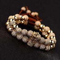 Men Women Luxury Micro Pave CZ Crown Braided Adjustable Couple Bracelets Jewelry