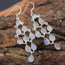 925 Sterling Silver Natural Rainbow Moonstone Gemstone Dangle Earrings Jewelry