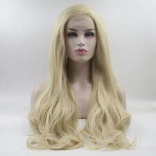 60CM Long Light Blonde Wavy Lady Hair Celebrity Lace Front Wig+Wig Cap