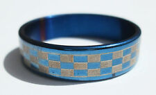 Blue Checkered Stainless Steel Ring - Size 9 (19 mm)