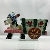 Vintage Large Donkey Pulling Cart Planter Flower Blue Hat - Unknown Maker