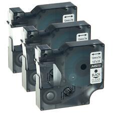 3x 12mm Schriftband Kassette Für Dymo D1 45010 Schwarz auf Clear Etikettenband