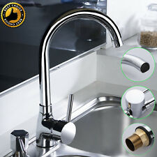 Swan Neck Kitchen Sink Mixer Tap Single Lever Swivel Chrome Spout Brass Faucet