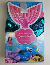 Mermaid Tail Blanket Plush & Playful Blue Turquoise Throw Sequined Fin Kid Gift