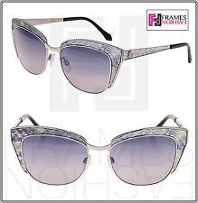 ROBERTO CAVALLI SUALOCIN Cat Eye 978S Silver Grey Snake Leather Metal Sunglasses