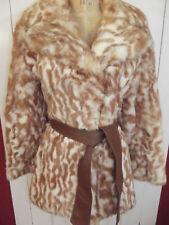 Vintage Genuine Mottled Rabbit Fur Short Trench Coat Brown & White 1970s Small