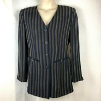 Dana Buchman Womens Size 10 Navy Pinstripe Blazer Collarless Jacket
