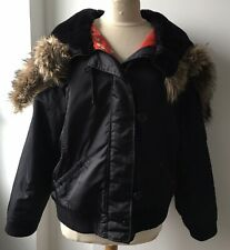 OLD NAVY Black Bomber Jacket Faux Fur Zipped Hood Red Lining - Size XXL (p 60 cm