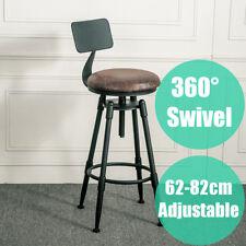 Industrial Rustic Bar Stool 360° Swivel Vintage Cafe Backrest Kitchen Chair US