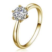 Gold Toned Shiny Crystal Zircon Ring For Women Fashion Wedding Jewelry WE
