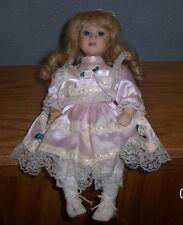 "Porcelain Victorian Sitting Doll - 8"" Tall - Blonde Hair Blue Eyes (340)"