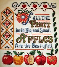 Finished cross stitch picture- Apples are The Best