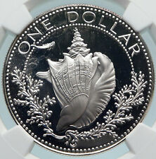 1974 BAHAMAS with CONCH SHELL Vintage OLD Proof Silver Dollar Coin NGC i85067