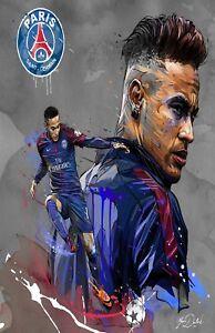 Neymar PSG Fooball Poster Print T1283 A4 A3 A2 A1 A0