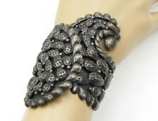QUINTO MEXICO 925 Silver - Vintage Antique Cactus Adjustable Bracelet B1258