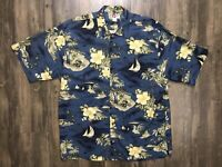 Hilo Hattie Floral Tropical Hawaiian Shirt Size Large Blue 100% Silk Tan EUC