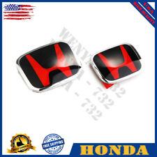 2pcs Honda ACCORD 2018-20 JDM Red Black H Front Rear Type R grille grill emblem