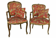 Antique French Walnut Bergeres French Provincial Chinoiserie Armchair French Lou