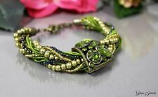 Glass Jewels Bronze Armband Perlen Vintage Grün Hellgrün Gold Strass #O002