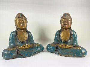 "Two Vintage Mid Century Modern Meditating Thai Buddhas 6"" Resin Hand Painted"