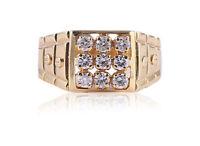 0,58 Cts Runde Brilliant Cut Diamanten Herren Jahrestag Ring In Solides 14K Gold