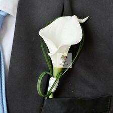 Best Man Groom Boutonniere Wedding  Flower Pin Brooch White Calla  Decoration