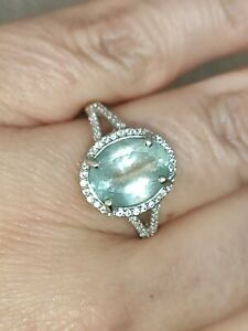 🎀3.5ct Natural Aquamarine simulated diamond halo ring solid 925 Sterling silver