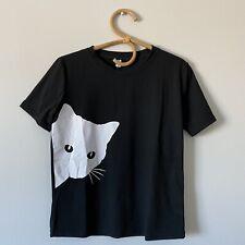 Large Juniors NWT OC ORDER PLUS Black & White Cat Tee T-Shirt Top