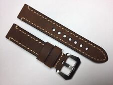 NEW 22MM DARK BROWN GENUINE CRAZY HORSE LEATHER STRAP BAND BRACELET FOR PANERAI