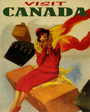 TRAVEL VISIT CANADA WOMAN LIPSTICK LUGGAGE 8X10 VINTAGE POSTER REPRO FREE S/H