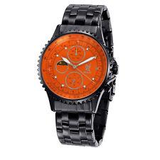 Mens Black Metal Band Watch Big Orange Diamond Dial Day Date Wacht Reloj Hombres