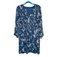 Banana Republic Watercolor Blue Wrap Front Dress 14 Pockets Flaws Elastic Waist