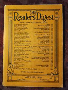 Readers Digest August 1930 John R. Tunis Thomas Edison Roark Bradford Michel Mok