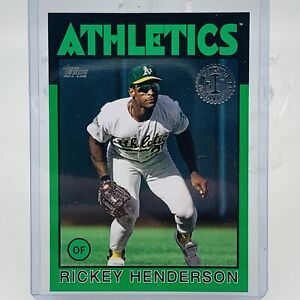 Rickey Henderson 2021 Topps Series 1 Green Parallel 1986 35th Anniversary Card