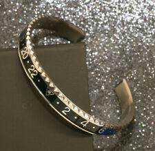 Solid Sterling Silver with White Gold Finish Unisex Black Blue Bangle Bracelet