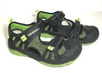 Merrell Boys Hydro Rapid Water Sandals Bump Toe Black & Lime Green Size 2 M EUC