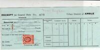 Urban District of Amble 1938 For General Rate Settled Stamp Receipt Ref 39016