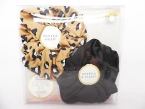 Scunci Oversized Jumbo Scrunchie Box Winter Glam Flirty - Leopard/Black - 2pk