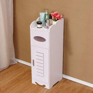 Modern  PVC  Bathroom Cabinet Shelf Cupboard Bedside Storage Unit Free Standing