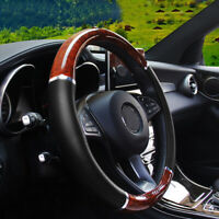 Wood Grain Steering Wheel Cover for Auto Car SUV Lux Grip Black Syn Leather