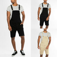 Summer Mens Loose Causal Overalls Shorts Jumpsuit Rompers Bib Dungarees Trousers