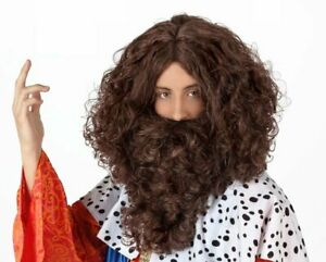 Hyfive Curly King Wig and Beard Fancy Dress Party Costume - Brown